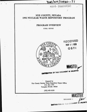 Primary view of object titled 'Nye County, Nevada 1992 nuclear waste repository program: Program overview. Final report'.