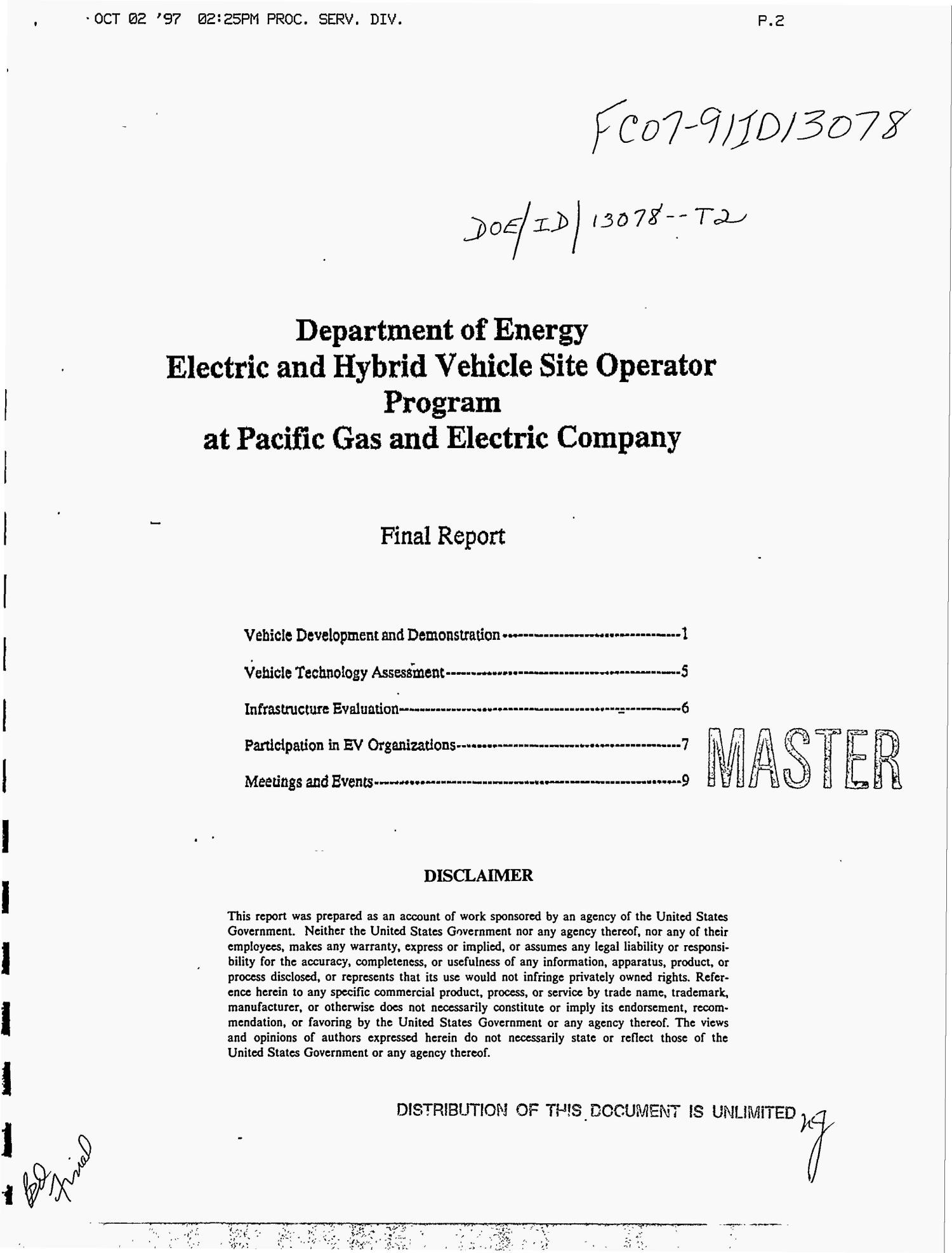 Department of Energy electric and hybrid vehicle site operator program at Pacific Gas and Electric Company. Final report                                                                                                      [Sequence #]: 1 of 13