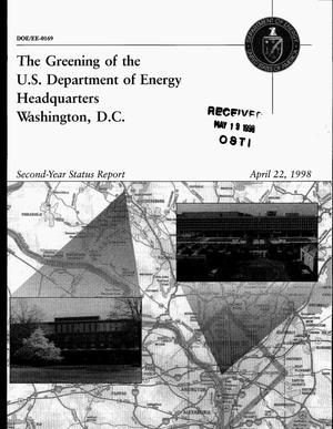 Primary view of object titled 'The greening of the U.S. Department of Energy Headquarters, Washington, D.C. Second-year status report'.