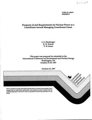 Primary view of object titled 'Prospects of and requirements for nuclear power as a contributor toward managing greenhouse gases'.