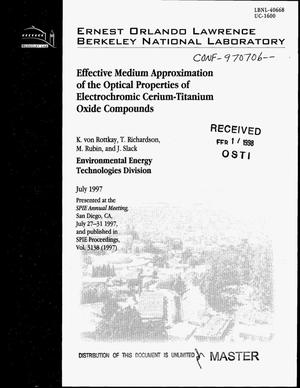 Primary view of object titled 'Effective medium approximation of the optical properties of electrochromic cerium-titanium oxide compounds'.