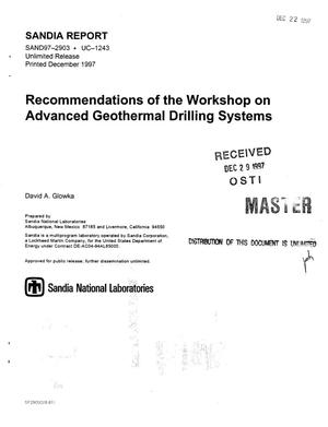 Primary view of Recommendations of the workshop on advanced geothermal drilling systems