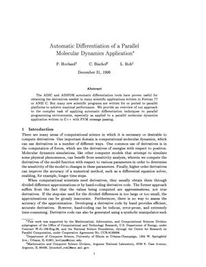 Primary view of object titled 'Automatic differentiation of a parallel molecular dynamics application'.