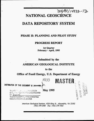 Primary view of object titled 'National Geoscience Data Repository System: Phase 2 -- Planning and pilot study. Progress report 1. quarter, February--April, 1995'.