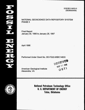 Primary view of object titled 'National Geoscience Data Repository System, Phase II. Final report, January 30, 1995--January 28, 1997'.
