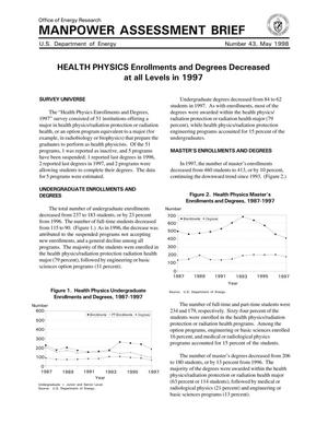 Primary view of object titled 'Manpower Assessment Brief {number_sign}43: Health Physics Enrollments and Degrees Decreased at all Levels in 1997'.