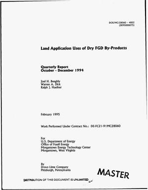 Primary view of object titled 'Land application uses of dry FGD by-products: Quarterly report, October--December 1994'.