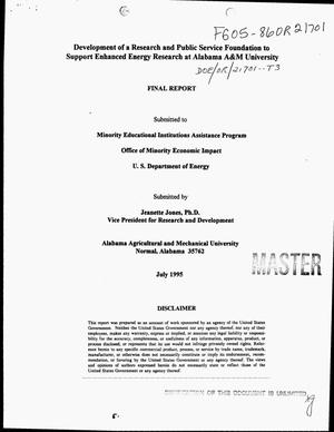 Primary view of object titled 'Development of a Research and Public Service Foundation to support enhanced energy research at Alabama A and M University. Final report'.