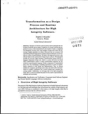 Primary view of object titled 'Transformation as a Design Process and Runtime Architecture for High Integrity Software'.