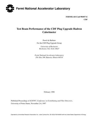 Primary view of object titled 'Test beam performance of the CDF plug upgrade hadron calorimeter'.
