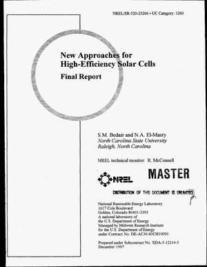 Primary view of object titled 'New approaches for high-efficiency solar cells. Final report'.