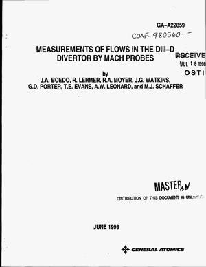 Primary view of object titled 'Measurements of flows in the DIII-D divertor by Mach probes'.