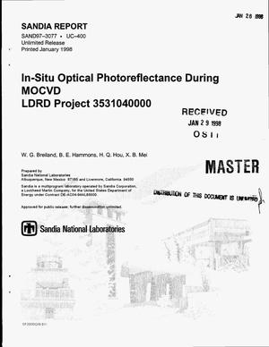 Primary view of object titled 'In-situ optical photoreflectance during MOCVD'.