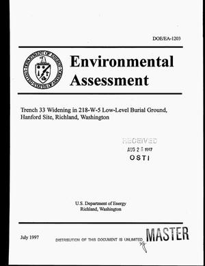 Primary view of object titled 'Environmental assessment for Trench 33 widening in 218-W-5 Low-Level Burial Ground, Hanford Site, Richland, Washington'.