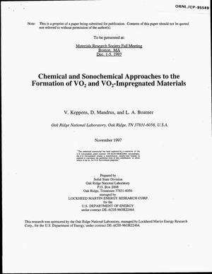 Primary view of object titled 'Chemical and sonochemical approaches to the formation of VO{sub 2} films and VO{sub 2}-impregnated materials'.