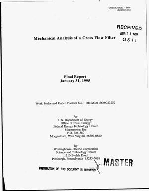 Primary view of object titled 'Mechanical analysis of a cross flow filter. Final report, January 31, 1995'.
