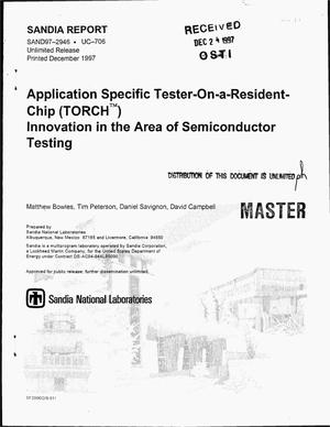 Primary view of object titled 'Application specific Tester-On-a-Resident-Chip (TORCH{trademark}) - innovation in the area of semiconductor testing'.