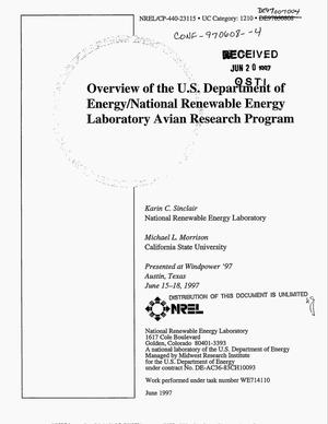 Primary view of object titled 'Overview of the U.S. Department of Energy/National Renewable Energy Laboratory avian research program'.