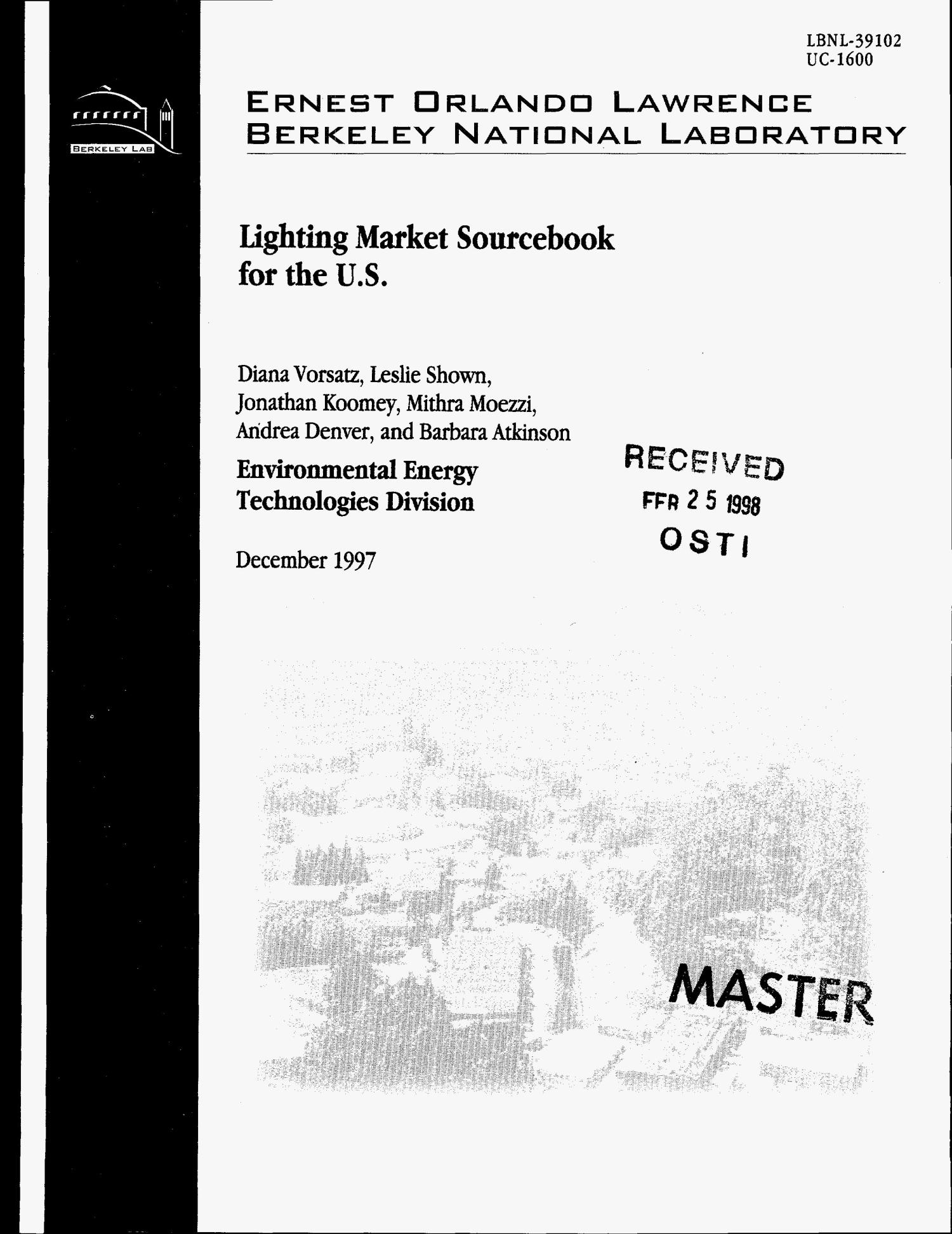 Lighting market sourcebook for the US                                                                                                      [Sequence #]: 1 of 160