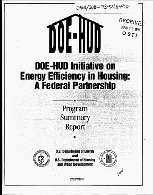 Primary view of object titled 'DOE-HUD Initiative on Energy Efficiency in Housing: A federal partnership. Program summary report'.