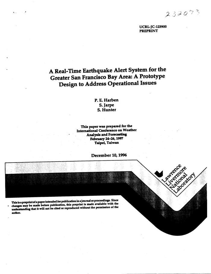 primary view of object titled real time earthquake alert system for the greater san