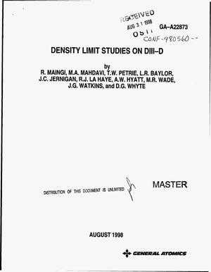 Primary view of object titled 'Density limit studies on DIII-D'.