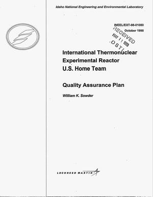 Primary view of object titled 'International Thermonuclear Experimental Reactor U.S. Home Team Quality Assurance Plan'.