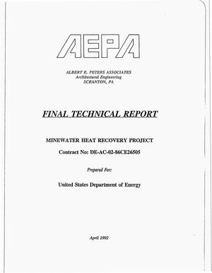 Primary view of object titled 'Minewater heat recovery project. Final Technical report'.