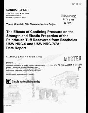 Primary view of object titled 'The effects of confining pressure on the strength and elastic properties of the Paintbrush tuff recovered from boreholes USW NRG-6 and USW NRG-7/7A: Data report'.