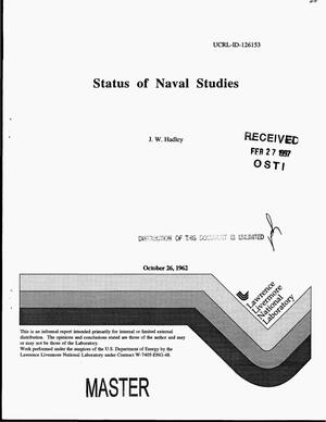 Primary view of object titled 'Status of Naval studies'.