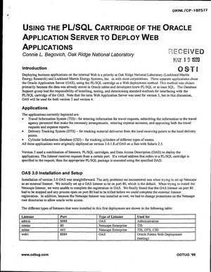 Primary view of object titled 'Using the PL/SQL Cartridge of the Oracle Application Server to Deploy Web Applications'.