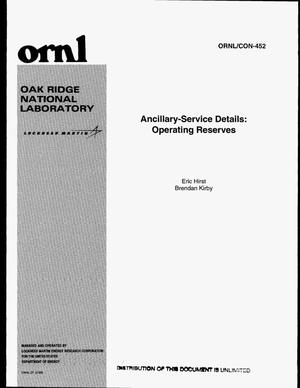 Primary view of object titled 'Ancillary-service details: operating reserves'.