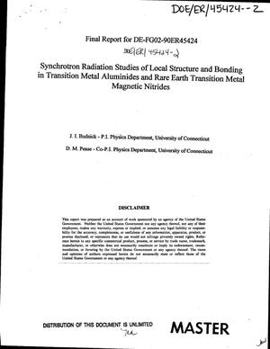 Primary view of object titled 'Synchrotron radiation studies of local structure and bonding in transition metal aluminides and rare earth transition metal magnetic nitrides. Final report, August 1, 1990--July 14, 1993'.