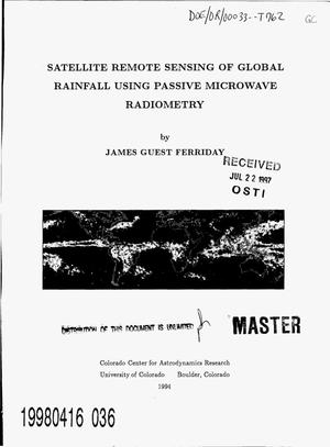 Primary view of object titled 'Satellite remote sensing of global rainfall using passive microwave radiometry'.