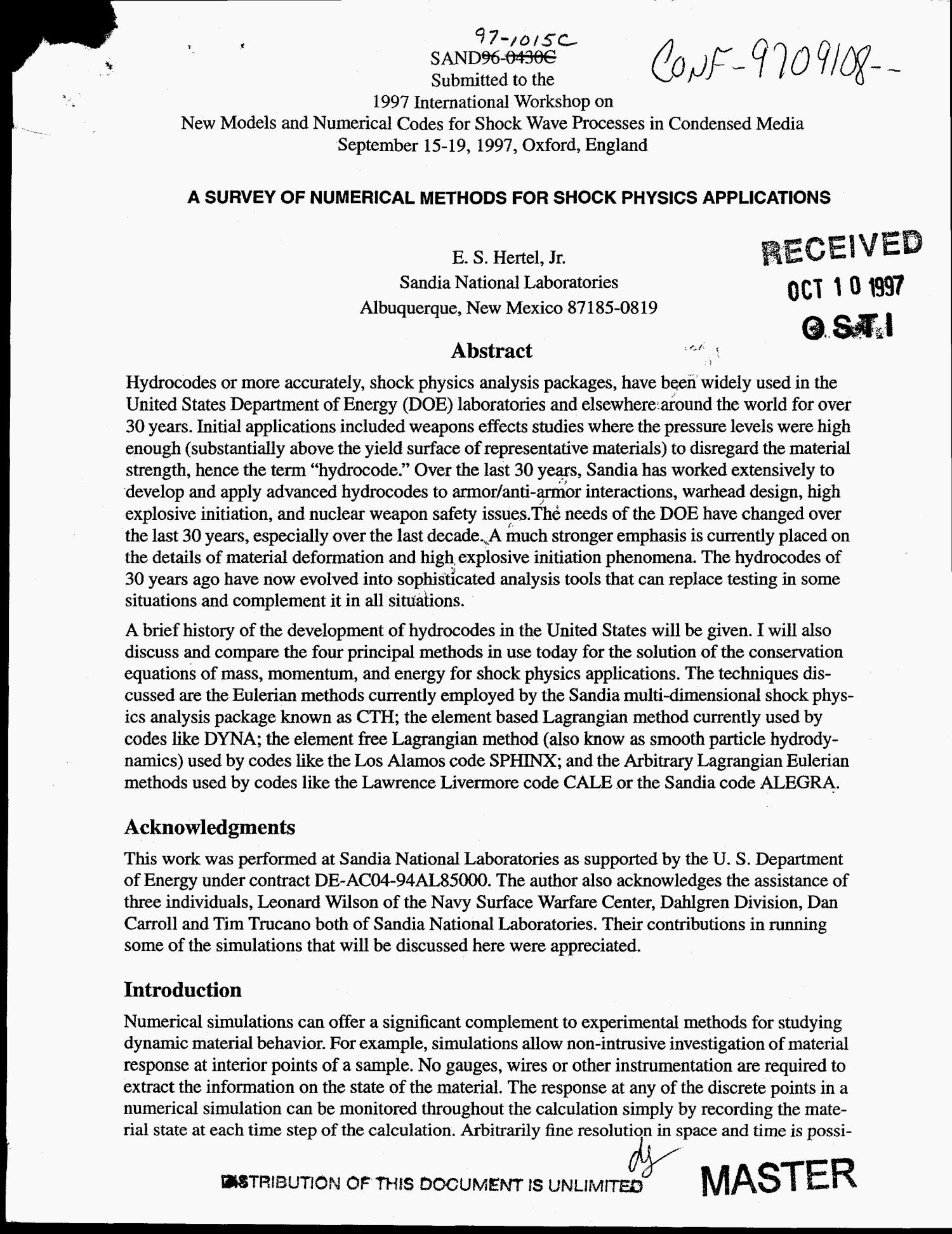 A survey of numerical methods for shock physics applications                                                                                                      [Sequence #]: 1 of 22