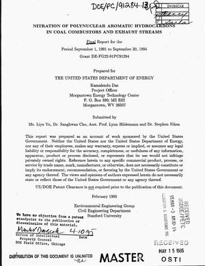 Primary view of object titled 'Nitration of polynuclear aromatic hydrocarbons in coal combustors and exhaust streams: Final report, September 1, 1991--September 30, 1994'.