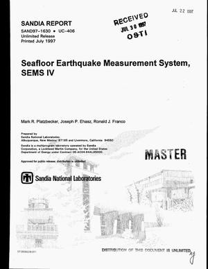 Primary view of object titled 'Seafloor earthquake measurement system, SEMS IV'.