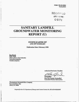 Primary view of object titled 'Sanitary Landfill Groundwater Monitoring Report. Fourth Quarter 1997 and 1997 Summary'.