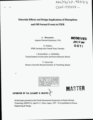 Primary view of object titled 'Materials effects and design implications of disruptions and off-normal events in ITER'.