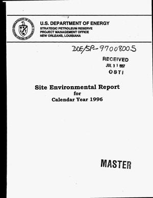 Primary view of object titled 'Site environmental report for calendar year 1996'.