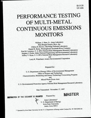 Primary view of object titled 'Performance testing of multi-metal continuous emissions monitors'.