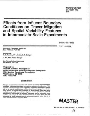 Primary view of object titled 'Effects from influent boundary conditions on tracer migration and spatial variability features in intermediate-scale experiments'.