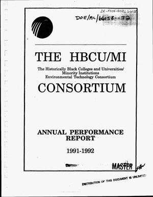 Primary view of object titled 'The Historically Black Colleges and Universities/Minority Institutions Environmental Technology Consortium annual report, 1991--1992'.