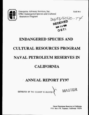Primary view of object titled 'Endangered species and cultural resources program, Naval Petroleum Reserves in California, annual report FY97'.