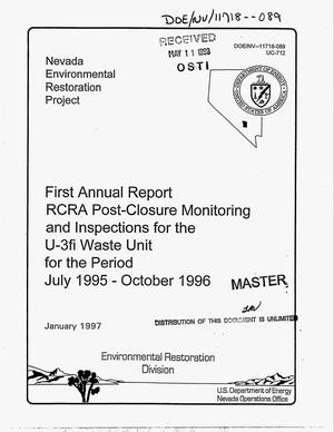 Primary view of object titled 'First annual report RCRA post-closure monitoring and inspections for the U-3fi waste unit. Final report, July 1995--October 1996'.