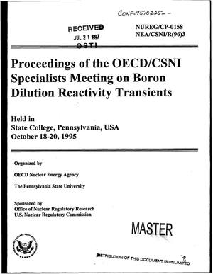 Primary view of object titled 'Proceedings of the OECD/CSNI specialists meeting on boron dilution reactivity transients'.