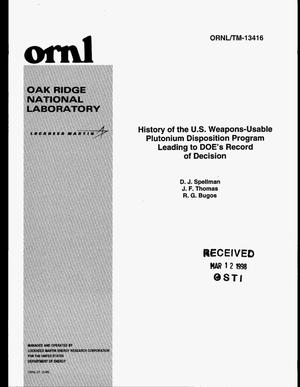 Primary view of object titled 'History of the US weapons-usable plutonium disposition program leading to DOE`s record of decision'.