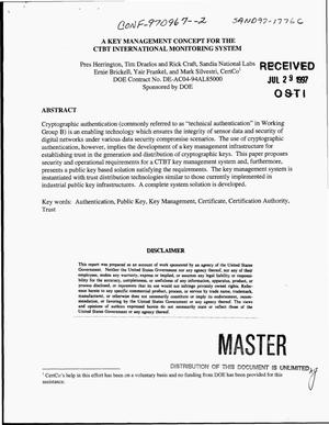 Primary view of object titled 'A key management concept for the CTBT International Monitoring System'.