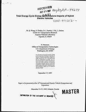 Primary view of object titled 'Total energy-cycle energy and emissions impacts of hybrid electric vehicles'.