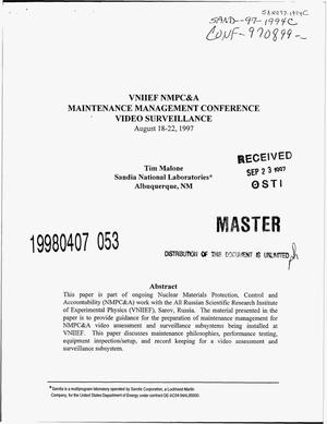 Primary view of object titled 'VNIIEF NMPC and A Maintenance Management Conference -- video surveillance'.